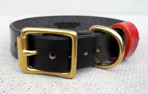 真鍮(ブラス)のゴールドDカン、バックルの革製犬用首輪|モノグラムレザードッグカラー|犬グッズ通販HAU
