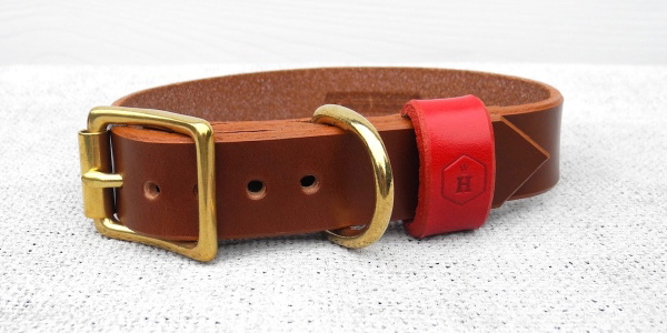 チェストナットブラウン(レッドループ|HOUNDWORTHY モノグラムブライダルレザードッグカラー(犬用革製首輪)|犬グッズ通販HAU