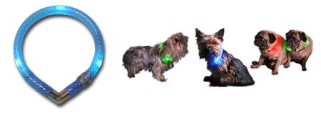 全方向性の光で視認性抜群|犬の交通安全、光る首輪|LEDドッグカラー (小型犬用セーフティーライト)|犬グッズ通販HAU