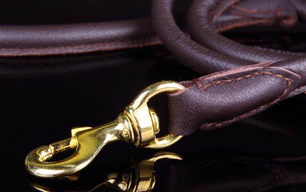 金色の真鍮製ナスカン|ラウンドレザーリーシュ /ポーランド製|犬グッズ通販HAU
